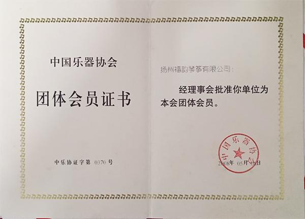 中国乐器协会团体会员证书